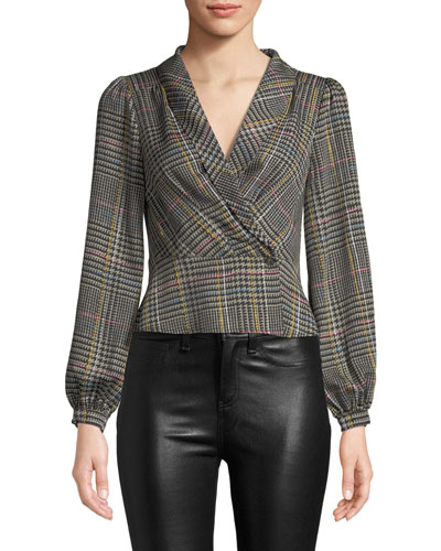 Renee Plaid Long-Sleeve Cropped Blouse