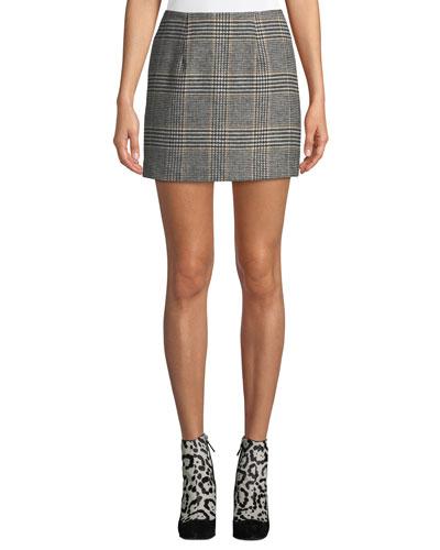Raye Plaid Wool-Blend Mini Skirt