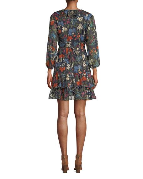 Cheyanne Floral-Print Ruffle Wrap Short Dress