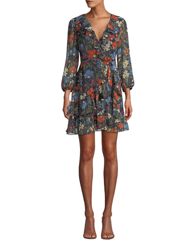 Cheyanne Floral-Print Ruffle Wrap Short Dress