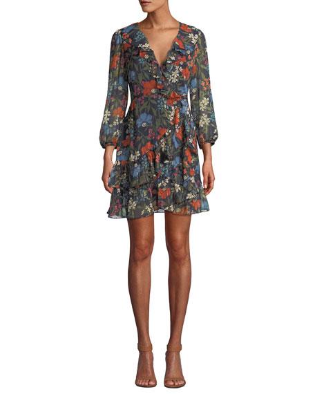 Astr CHEYANNE FLORAL-PRINT RUFFLE WRAP SHORT DRESS