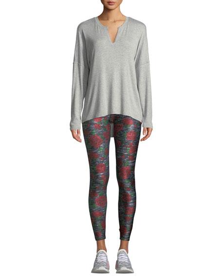 Heathered Rose-Print Tall Band Leggings