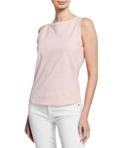 Sleeveless Cotton Crewneck Muscle Tee