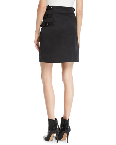 Side-Buckled Cotton Skirt