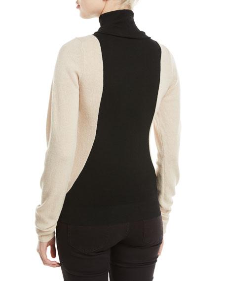 Colorblock Lambs Wool Turtleneck Sweater