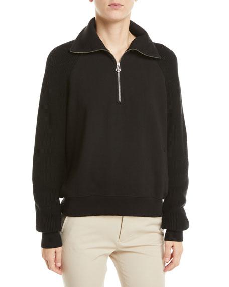 Helmut Lang Combo Half-Zip Pullover Sweatshirt