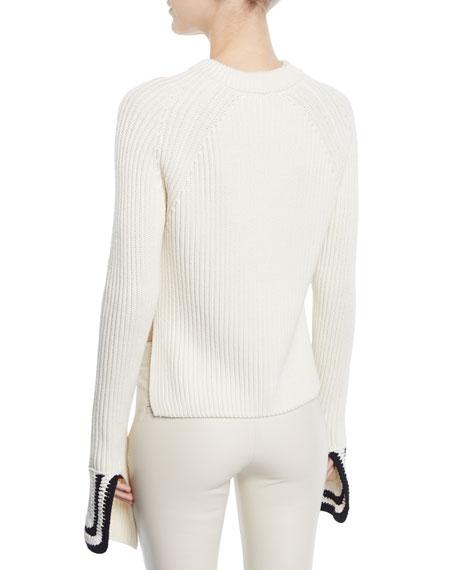Ribbed Knit Side Split Sweater w/ Crochet Cuffs