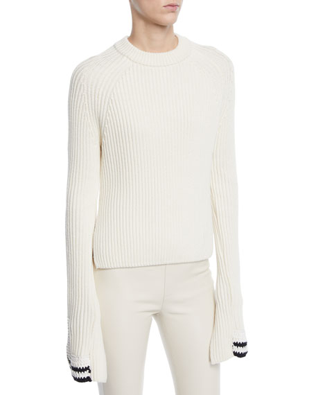 Helmut Lang Ribbed Knit Side Split Sweater w/