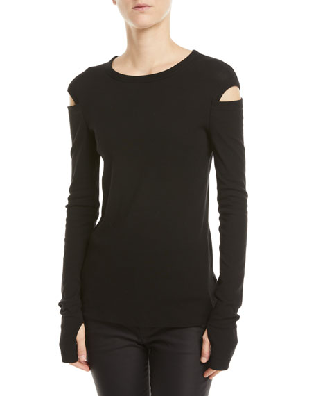 Long-Sleeve Crewneck Slash Tee