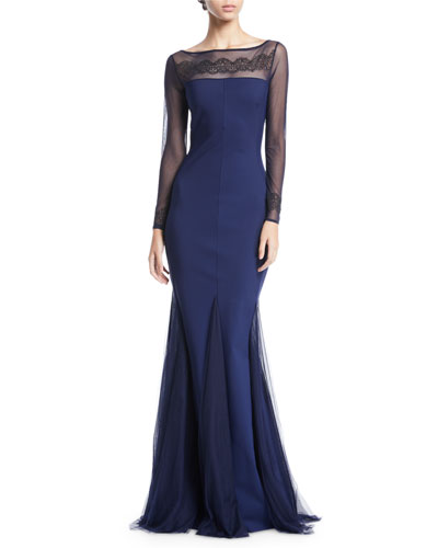 Nieves Embroidered Illusion Trumpet Gown
