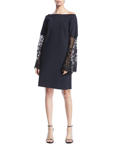 Alala Off-the-Shoulder Lace-Sleeve A-line Dress