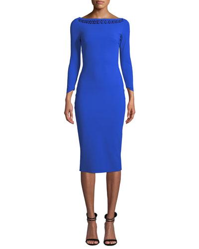 Adwoa Jeweled-Neck Dress