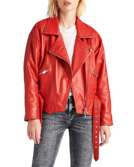 Cropped Moto Leather Jacket in Riot
