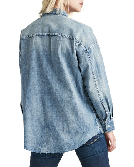 The Button Up Raw-Edge Chambray Shirt