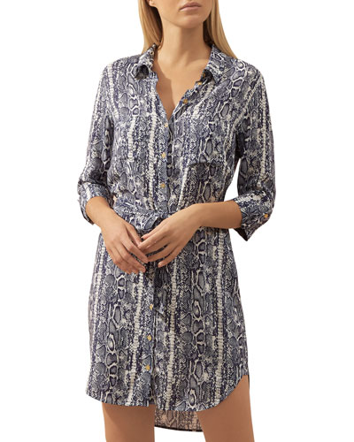 Kenya Snake-Print Coverup Shirtdress