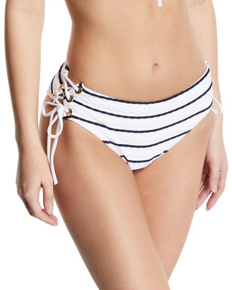 Heidi Klein Beachwear STRIPED LACE-UP HIPSTER BIKINI SWIM BOTTOMS
