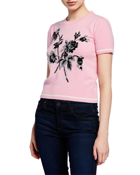 No. 21 Floral Short Sleeve Knit Top