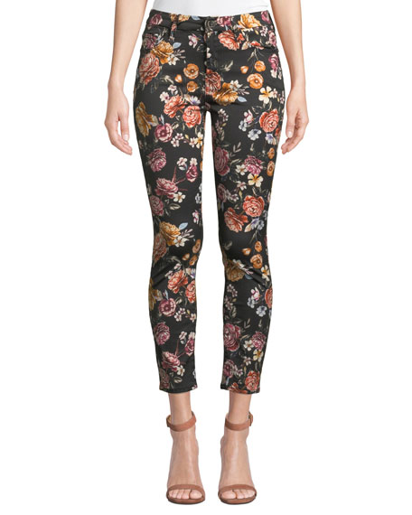Jen7 By 7 For All Mankind Cottons RAINBOW BLOOMS FLORAL ANKLE SKINNY JEANS