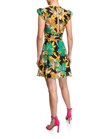 Floral-Print Cap-Sleeve Silk Dress