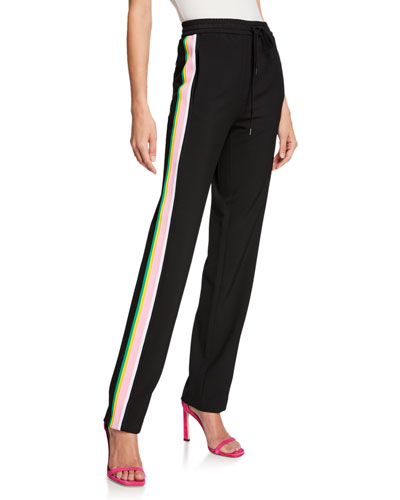 Side-Stripe Straight-Leg Pull-On Pants