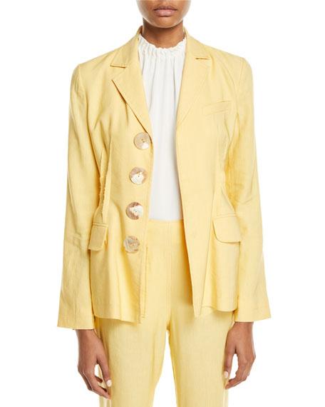 Etta Linen Notch-Collar Peplum Jacket