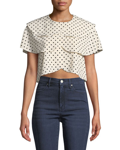 Jude Tiered Crepe Polka Dot Blouse