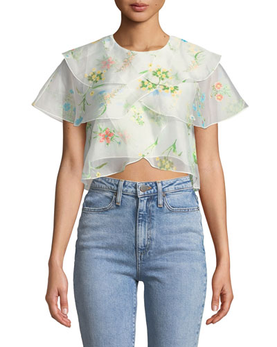 Jude Tiered Floral Cropped Blouse
