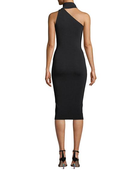 Annecy Asymmetric Mock-Neck Sleeveless Body-Con Midi Dress