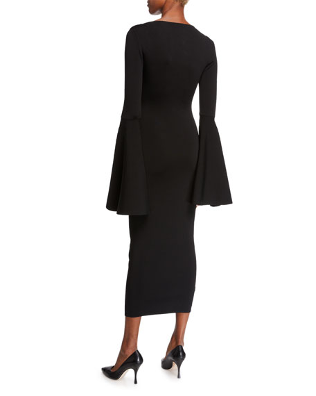 Serra Scoop-Neck Bell-Sleeve Midi Dress