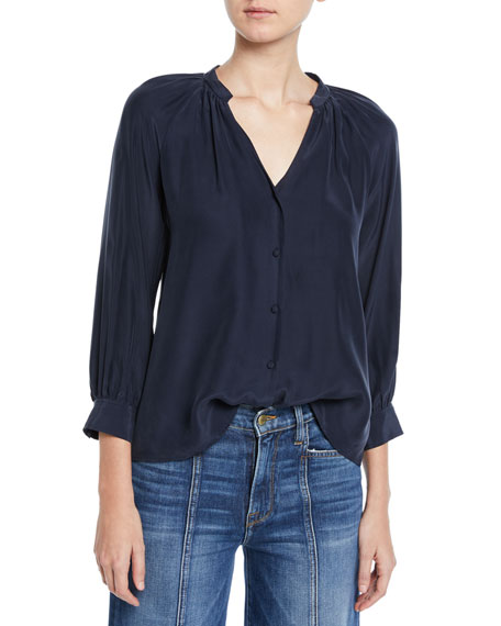 Raglan-Sleeve Silk Button-Front Top
