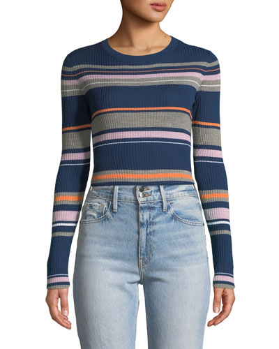 Panel-Stripe Long-Sleeve Ribbed Sweater