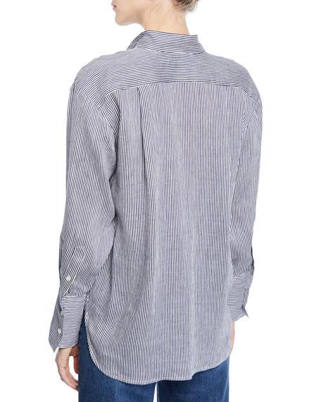 Clean-Collared Striped Linen Button-Down Shirt