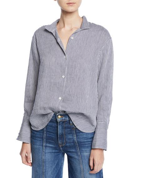 FRAME Clean-Collared Striped Linen Button-Down Shirt