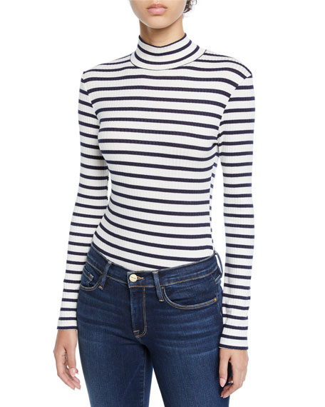 Image 1 of 1: Striped Long-Sleeve Turtleneck Top