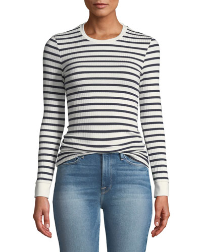 Striped Rib-Knit Long-Sleeve Top