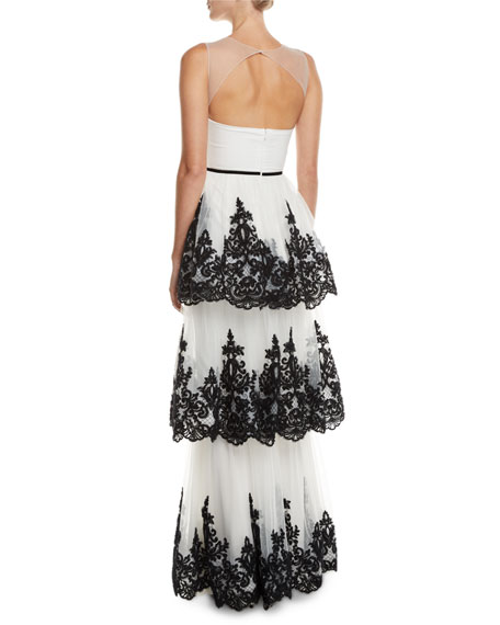 Embroidered 3-Tier Strapless Gown
