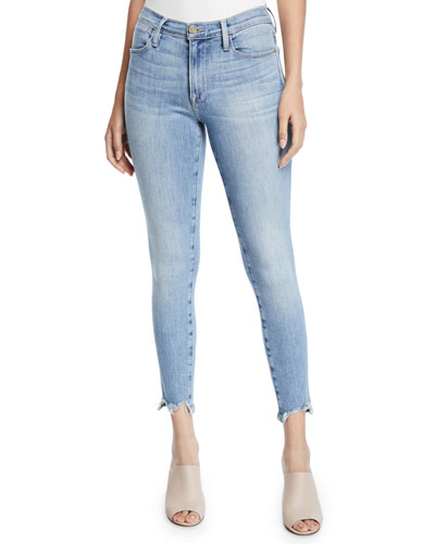 Le High Skinny Cropped Chewed-Hem Jeans