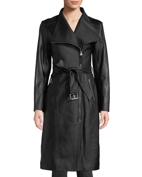 Mackage Estele Belted Long Leather Jacket