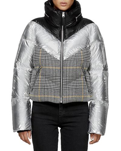 Mini Houndstooth & Metallic Cropped Down Jacket