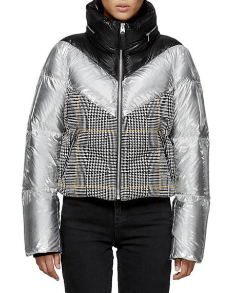 MACKAGE Mini Houndstooth & Metallic Cropped Down Jacket in Black