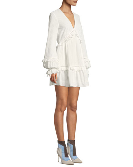 Embroidered Ruffle Long-Sleeve V-Neck Dress