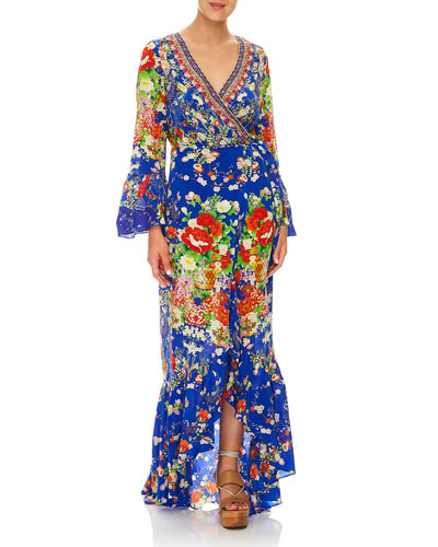 Playing Koi Bell-Sleeve Printed Wrap Maxi Dress