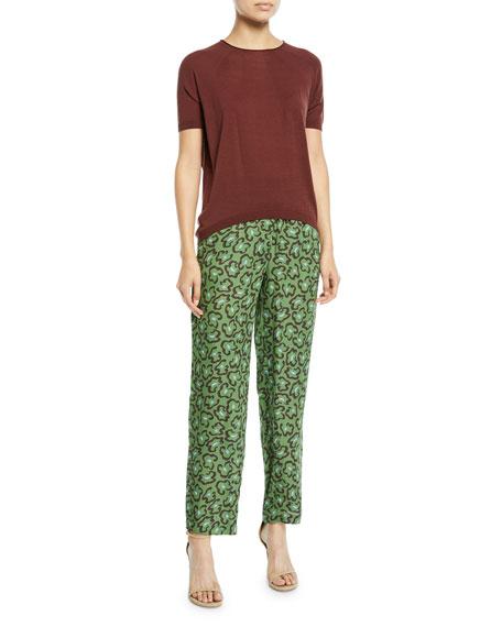 Paney Leopard-Print Straight-Leg Pants