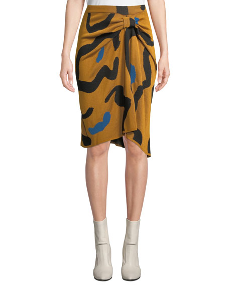 Christian Wijnants Kazu Draped Leopard-Print Jacquard Sweater