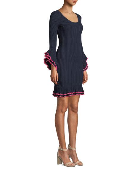Rib-Knit Ruffle-Sleeve Dress w/ Contrast Trim