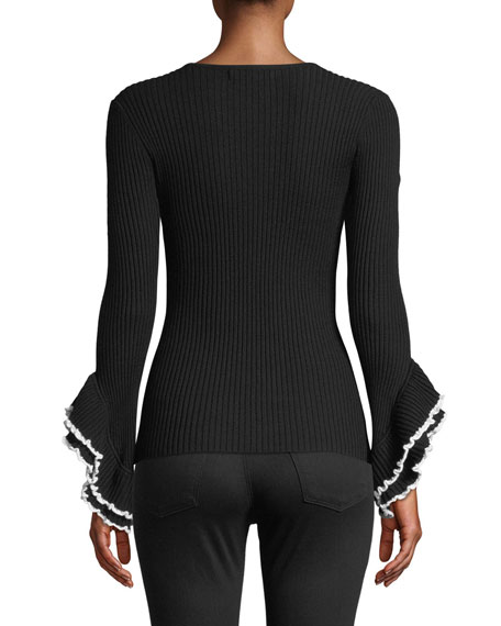 Ribbed V-Neck Sweater w/ Contrast Ruffle-Sleeves