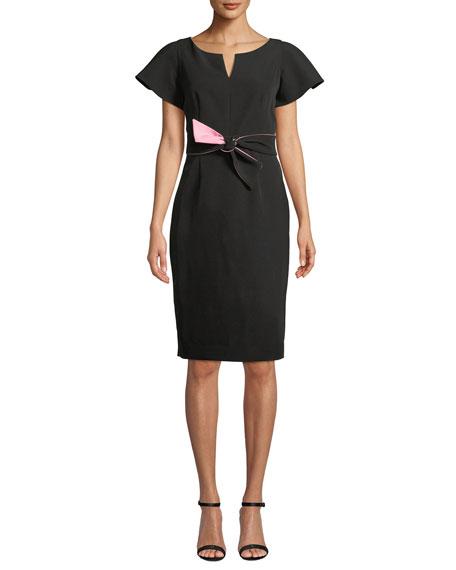 Milly Italian Cady Tina Short-Sleeve Dress w/ Twist