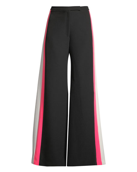 Wide-Leg Italian Cady Track Pant w/ Striped Sides
