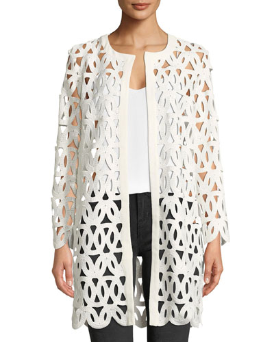 Long-Sleeve Open-Front Sheer Lace Embroidered Coat