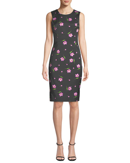 Kendrea Sleeveless Floral-Print Sheath Dress
